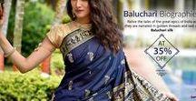 Baluchari Sarees / Type of sari originated in Bengal, Baluchari saree locally called Baluchuri sari is known for depictions of mythological scenes on the pallu of the sari.
