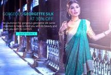 Georgette Silk Sarees / Made from silk, silk georgette saree from Mysore is thin, lightweight and has a sheer, translucent quality. The yarns used to weave silk georgette are highly twisted, creating a slightly grainy surface texture quite like a crepe fabric.