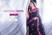 Kota Doria Real Zari Sarees / Kota Doria sarees are here for everyone to see! They depict fascinating motifs that are woven in real zari threads.