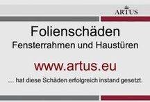 """Folienschäden an Fensterrahmen und Haustüren www.artus.eu / Unser Grundsatz lautet """"Instandsetzung statt Austausch"""" und stellt die nachhaltigste Form der Reklamationsbehebung dar."""