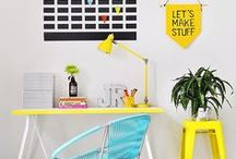Dream office / Beautiful ideas to decorate your work space and office. Dream office. Home decor. Interior design. Bright colors.