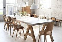 Dining tables / Rustic/natural/reclaimed wood/white painted chairs/industrial metalic hanging lamps...