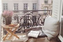 Balcony/terrace / Coffee tables, herb and flower pots, palett furniture, laterns and candles..
