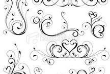 Swirls, Black & White Templates