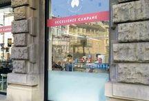 ECCELLENZE CAMPANE & BellaVista PLUS / One of the best restaurant in Milan Eccellenze Campane, in Cusani street near Castello Sforzesco, chose the vertical all-glass sliding glasses BellaVista PLUS. L' esclusivo ristorante Eccellenze Campane di Milano in via Cusani ha scelto le vetrine saliscendi BellaVista Plus per la vendita street food.