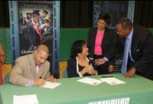 JSU partners with Blackburn Middle School / Jackson State University and Jackson Public Schools entered into a historic agreement creating a partnership to enhance the quality of education offered at Blackburn Middle School.  Blackburn will become a JSU laboratory school. JSU faculty and researchers will start working this summer with Blackburn faculty and administrators to create a school where excellence in education theory and practice can be observed, studied and utilized. / by Jackson State
