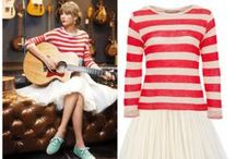 Taylor Swift / Taylor Swift is the ultimate girly-girl and her style, rooted in country music tradition, certainly reflects that.    The singer-songwriter's signature look involves perfectly straight bangs, smoldering red lipstick and feminine dresses by designers like Kate Spade, Monique Lhuillier and Rebecca Taylor. / by Celebrities in Style