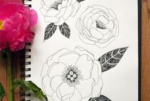 Flower Sketches / different styles and methods of sketching flowers with various mediums for inspiration and help sketching.
