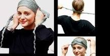 Chemo Head Scarf Love / Chemo scarves can make fantastic headwraps  #chemoheadwear - we love silk for a dressy event or evening wear.  Larger #chemoscarves so that you can experiment with different ways to tie and style.