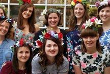 Flower Crown Workshop / The Glam Hatter Girls run flower crown making workshops in London and Nationwide. The perfect #henpartyactivity using faux #flowers #flowercrown