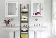 Ladder bookshelf staging / by Julie {The Hyper House}
