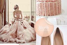 blush wedding / ピンク色の明るさの中間の色合いでコーディネートされたウエディングスタイル。十六進の色コードでBlush色#de5d83。