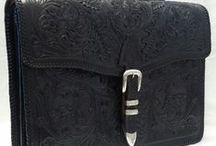 Western Briefcases / Hand carved Western briefcases with sterling silver buckles