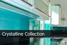 Crystalline Glass Splashbacks / Crystalline Collection has been designed to highlight the three-dimensional textures of the raw compounds, pigments and glitters. The wide range of vibrant colours in this collection have been specifically chosen to compliment your modern or traditional kitchen as well as granite and quartz worktops supplementing your kitchen with a splash of colours and excitement, making yourself and guests amazed by the design and sparkle effect.