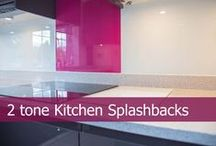 """2 tone Kitchen Splashbacks / CreoGlass offers a """"TWO TONE"""" horizontal colour split to marry both glass worktop and splashbacks for your kitchen and bathroom. Visit our website for more ideas. www.creoglass.co.uk"""