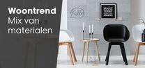 Mix van materialen / Materialen in de mix! Alles mag en kan: hout gecombineerd met leer, hout met betonlook, metaal met hout, glas met metaal... Op deze manier creëer je contrast in huis, wat een spannender plaatje oplevert. www.kwantum.nl/mix-van-materialen