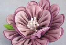 Цветы / цветы из ткани, лент и ниток