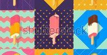 isometric / Isometric, Illustration, Vector, Ice cream, summer, sun glasses, drink, travel, sea, beach