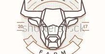Logos / Logo, Simple, Vintage, Style, Vector, Design, Illustration, animal, deer, bull, chicken, pork