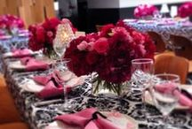 Black & White / Weddings and events showcasing black and white tablecloths and accents, also featuring other design inspiration