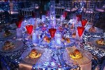 Sequin & Sparkle / Weddings and events showcasing sequined tablecloths and accents, also featuring other design inspiration
