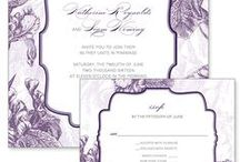 Purple Themed Wedding Inspiration / Combining the stability of blue and the fierceness of red, purple is a color associated with luxury, peace, and creativity. It has also traditionally been associated with royalty and nobility. When chosen as one of your wedding colors, purple conveys individuality and a hint of mystery. Create unique invitations for your special day by personalizing one of the professionally designed templates from The Printable Wedding.