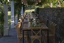 Outdoor Garden Party / Throwback to a glorious early summer Al Fresco celebration by the pool - overlooking the Narragansett Bay. Stasia Anthony of Exquisite Events did a phenomenal job coordinating every last detail.  The great farm tables from New England Country rentals have a trough in the center that allowed us to stage loads of candlelight in cylinders and sunken flower gardens with a French County look. The client's gorgeous pergola adjacent to the pool was just tailor made for this evening under the stars! 