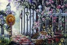 Cross stitch - Garden