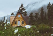 •My dream home• / Future home ideas. Small, rustic, back to the woods. Rain on a tin roof.