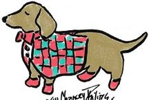 Danton The Dachshund / Jill's First Collector's Series. Danton the Dachshund is new retired and enjoying everything life has to offer. This fall, tailgate with our dachshund drink tote and cocktail napkins. Dress the little ones in our Danton tees and grab a tea towel for yourself.  Shop Danton Series Here: http://www.knackandjill.com/shopdanton/