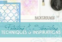 Painting & Stenciling Techniques for Backgrounds / Painting and Stenciling Techniques | Ideas and Inspirations | How to Stencil | Learn to Paint | Backgrounds | Watercolor | Acrylic | Alcohol Ink | Mixed Media | Oil | Colored Pencil | Furniture | Home Decor