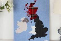 British Isles Fabric Map Wall Art
