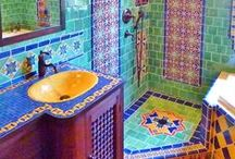 Funky Tiles / I just LOVE eclectic tiling!