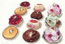 Illustrations de pâtisserie.