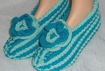 Hand knitted Slippers / Pioneer Heritage Shoppe custom hand-knit slippers with premium natural fiber yarn .....the slippers you will love.