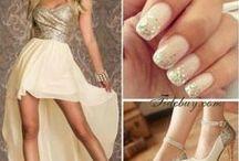 hair and  dress and nail polish