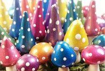 Gnomes and Mushrooms - Fairy Garden Handmade