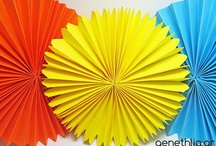 party decoration with paper rosettes