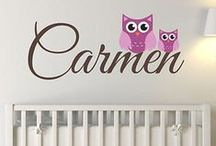 Girls Name Decals / Great vinyl wall decal stickers, and great personalized custom vinyl wall decal stickers that would look great in girls' rooms! #girlsrooms #vinylwalldecal