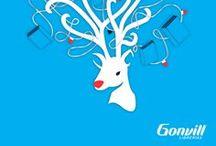 Librerías Gonvill, Campaña Navidad 2013.  / Para la campaña de Librerías Gonvill, Navidad 2013 se crearon elementos gráficos relacionados con esa época y mensajes de buenos deseos para sugerir al cliente que el mejor regalo en esas fechas es un libro.