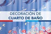 Decoracion cuarto de baño / Ideas para decorar el baño, juego de cortinas y tapetes. disponibles para ti en los catálogos Primor.