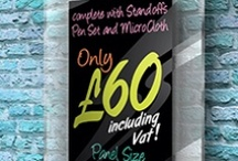 Chalk Board   Menu Board / An EasyClean Acrylic ChalkBoard and MenuBoard which comes complete with a FREE set of 7 Liquid ChalkPens. Includes 4 quality aluminium standoffs & microfibre cleaning cloths.