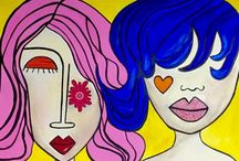 My Abstract Ladies / A mix of my art work on paper and canvas.