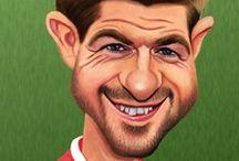 """""""Guess who?"""" Liverpool football club / Encargo de 24 caricaturas para la creación de un """"Guess who?""""  con jugadores y entrenadores de la historia del Liverpool football club"""