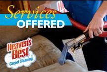 Services and Products Offered / Heaven's Best provides a wide variety of services, in addition to carpet and upholstery cleaning, which includes: area rug cleaning, leather cleaning, tile and grout cleaning, and hardwood floor cleaning. These services are available in both the residential and commercial market.