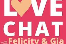 """Love Chat Podcast With Felicity and Gia / The """"Love Chat with Felicity and Gia"""" podcast is here!   In our weekly episodes, we talk about love, relationships, answer your questions, and provide you with insights, information, and tools to empower you to enjoy the fulfilling love life you've imagined.  You can find the Love Chat episodes here on Pinterest, our Facebook page, and the Love Chat website: lovechatpodcast.com  Can't wait for you to join us - we know you'll love it!  Love,  Gia xo"""