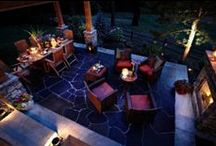 Patio ideas / Patio inspiration to include:  decor, landscaping, furniture, curtains, fireplace, bar & hot tub / by Tammy Naivar