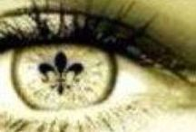 """NOLA FLEUR DE LIS / The fleur-de-lis is a stylized lily (in French, fleur means flower, and lis means lily) or iris that is used as a decorative design or symbol. It may be """"at one and the same time, political, dynastic, artistic, emblematic, and symbolic"""", esppecially in heraldry. It has been used to represent French Royalty, and it is said to signify perfection, light, and life. / by Elizabella Lemoncella ॐ"""