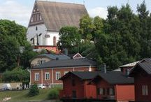 Porvoo Finland / old church, old storage buildings, nature