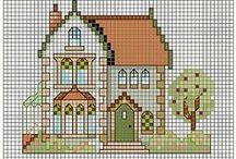haft krzyżykowy/cross stitcher -domki/houses